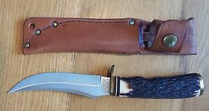Vintage SCHRADE USA 498 Bowie Hunting Knife wLeather Sheath Fixed Blade