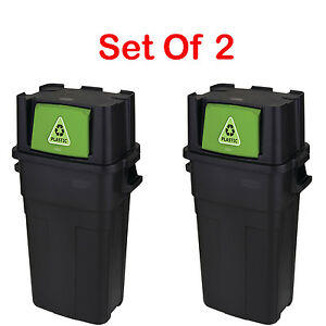 Personal Recycle Bin Trash Can Large Garbage Waste 30 Gallon Set Of 2 Containers