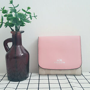 NWT COACH SIGNATURE PVC LEATHER TRIFOLD SMALL WALLET BLUSH F53837 WOMEN $135