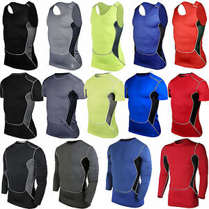 Mens Compression Sports T-Shirt Vest Top Workout Under Base Layer Running Tights