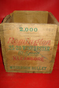 VINTAGE empty REMINGTON WOOD CRATE shell box wooden 25-20 WINCHESTER cartridges