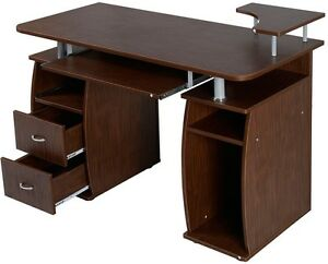 Computer Desk Brown With Drawers Modern Home Office Suite Printer Shelf Storage