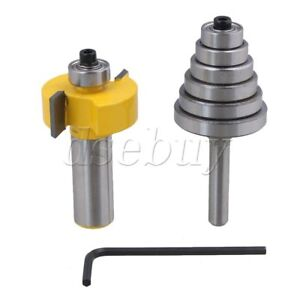 1/2 Inch Shank Rabbet Router Bit with 6 Bearings Adjust L-Slot Width