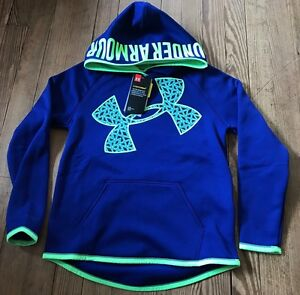 NWT Girls Youth Under Armour Blue Lime Storm 1 Lg Logo Hoodie Sz YMD