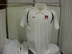 NCAA Auburn Tigers Basketball Team SS Polo WhiteNavy Under Armour Wmns Sz 2XL