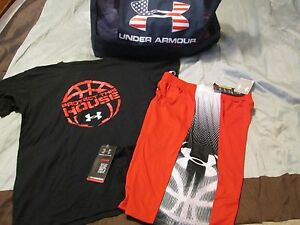 NEW Boys UNDER ARMOUR 2Pc BASKETBALL Outfit BlkRed Shorts+Tee YLG FREE SHIP