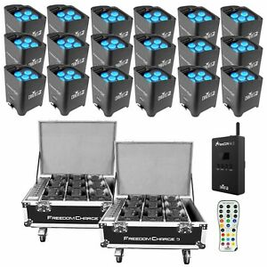18 Chauvet DJ Freedom Pars Tri-6 D-Fi Wireless LEDs w Road Cases