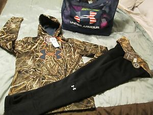 NEW Womens UNDER ARMOUR REAL TREE CAMO 2pc Outfit Hoodie + Pants LG FREE SHIP