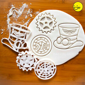 Set of 3 Steampunk cookie cutter hat gear clock vintage cyberpunk retrofuturism