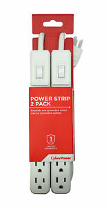 CyberPower 6-Outlet Power Strip with 2 Ft. Power Cord - Twin Pack in White