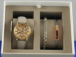 Fossil Women's Two Tone Taupe Leather Modern Sophia Watch Bracelet Gift Set $155