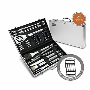 21 Piece BBQ Tools Set - Barbecue Accessories With Carrying Case - Professional