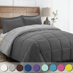 Down Alternative Comforter Set 3 Pcs with Shams All Season Reversible Comforter