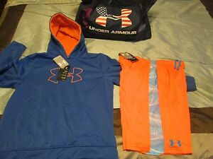NEW Boys UNDER ARMOUR 2Pc Outfit BlueOrange Hoodie+Shorts YXL 18-20 FREE SHIP!