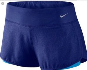 Nike Women's 7.5 cm Jacquard Running 2 In 1Shorts With Inner Shorts Large  Blue