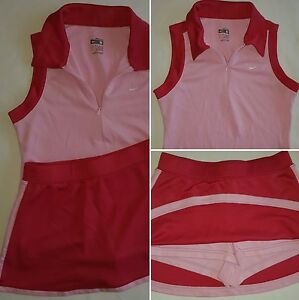 Girls NIKE TENNIS OUTFIT Skort Small Top Medium Fit Dry SKIRT Pink Red SHORTS