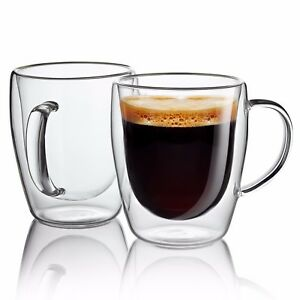 Set of 2 Strong Clear Glass Double Wall Coffee Mug Tea Espresso Cup 10 oz