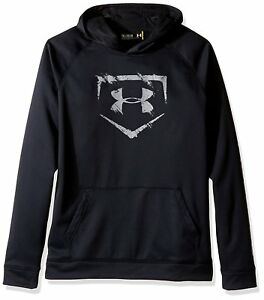 Under Armour Boys Baseball Logo Hoodie BlackBaseball Gray Youth Medium