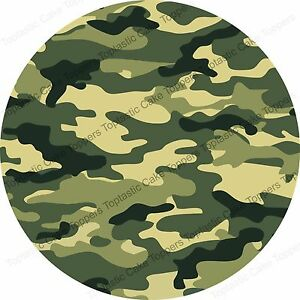 Green Army Camouflage Pattern Background Edible Icing Party Cake Topper Sheet