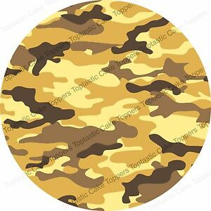 Desert Army Camouflage Pattern Background Edible Icing Party Cake Topper Sheet