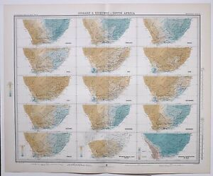 1899 LARGE WEATHER METEOROLOGY MAP ISOBARS amp; ISOHYETS SOUTH AFRICA ANNUAL GBP 88.00