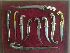 10 Antique Indo Persian Daggers Animal themed hilts Gold Silver Bone Steel