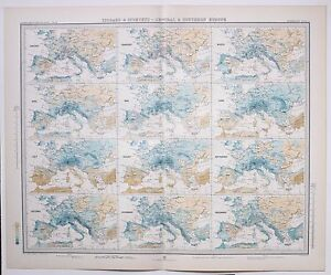 1899 LARGE WEATHER METEOROLOGY MAP ISOBARS amp; ISOHYETS CENTRAL amp; SOUTHERN EUROPE GBP 88.00