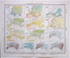 1899 LARGE WEATHER METEOROLOGY MAP ISOTHERMS amp; ISOBARS EUROPEANNUAL HOT PERIOD GBP 88.00