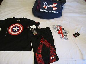 NEW Boys UNDER ARMOUR 3Pc OUTFIT CAP AMERICA+GRAPHIC T+SHORTS Ylg FREE SHIP!