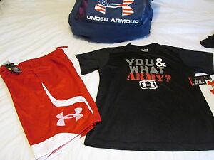 NEW Boys UNDER ARMOUR 2Pc OUTFIT Red Shorts+Blk YOU & WHAT ARMY? YXL FREE SHIP