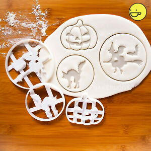 Set of 3 Halloween cookie cutters  Witch Cat Jack o Lantern Trick or Treats