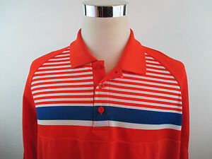 NWT Men's Under Armour Wailea Golf Polo Sz XL Loose Under Armour Orange Stripes