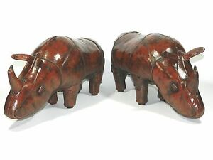 Vintage Leather Rhino Footstool Dimitri Omersa Abercrombie and Fitch