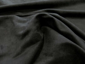 MICRO SUEDE MICROFIBER PASSION BLACK SUEDE UPHOLSTERY FABRIC - 58