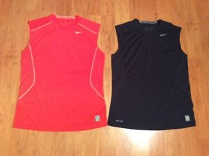 Men's Nike Pro Combat Dri Fit Fitted T-Shirt Lot Of Two Black Orange Size L