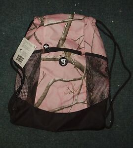 Pink Camo Camouflage Realtree Drawstring Backpack Tote