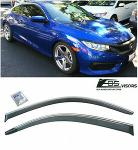 SIDE WINDOW VISORS TAPE ON FOR HONDA CIVIC 2016-UP 2DR COUPE SMOKE VENT JDM