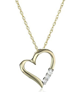 Yellow Gold Diamond Heart Necklace Pendant Chain Women's Jewelry For Girlfriend