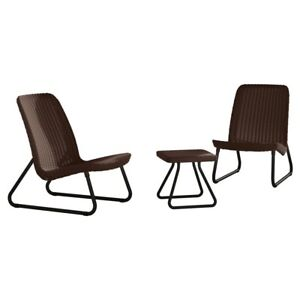 Keter Rio 3-Piece All Weather Outdoor Patio Seating Table Set in Brown