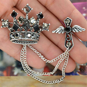 Fashion Unisex Crystal Crown Angle Wing Chain Cross Brooch Pin For Suit Gift $1.85