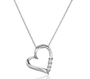 White Gold Diamond Heart Necklace Pendant Chain Women's Jewelry For Girlfriend