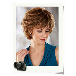 Women Chic Cut Layered Curly Hairstyle Medium Brown Color Synthetic Hair Wig