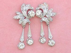 ANTIQUE 4.5ctw OLD MINE DIAMOND PLATINUM DANGLE COCKTAIL STATEMENT EARRINGS 1940