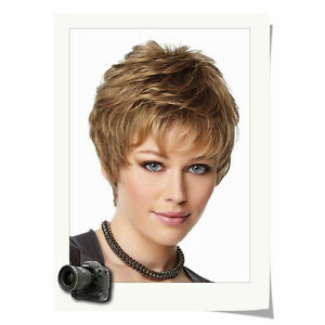 Chic Short Cut Curly Hairstyle Beautiful Blonde Color Synthetic Hair Wig
