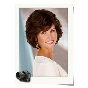 Women Chic Cut Short Layered Curly Hairstyle Dark Brown Color Synthetic Hair Wig