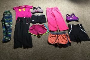 11 PC HUGE Lot Girls Clothes Under Armour SZ S SPORTS BRAS SHORTS COMPRESSION!!