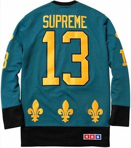 SUPREME FLEUR DE LIS HOCKEY JERSEY TEAL BOX LOGO L T SHIRT BLACKHAWKS TOP NIKE