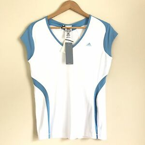 Adidas White Shirt L Tennis New Sleeveless Fitted Dry Wick Stretch Clima Cool