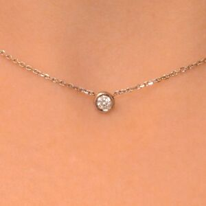 "0.10 Ct Diamond By The Yard Single Station Necklace Man Made 14k Gold 14""15""16"""