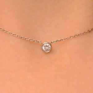 0.15 Ct. Diamond By The Yard Single Station Necklace Man Made 14k Gold 16""